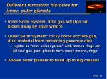 different formation histories for inner outer planets