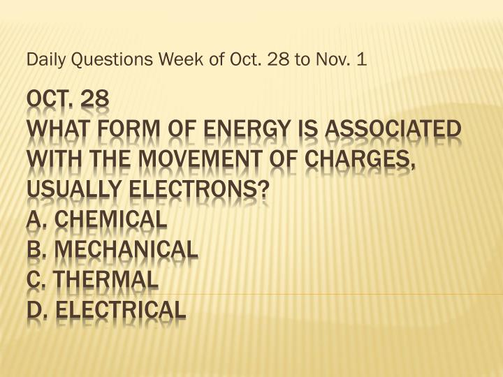 daily questions week of oct 28 to nov 1 n.