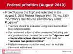 federal priorities august 2010