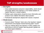 tap strengths weaknesses