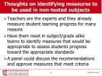thoughts on identifying measures to be used in non tested subjects