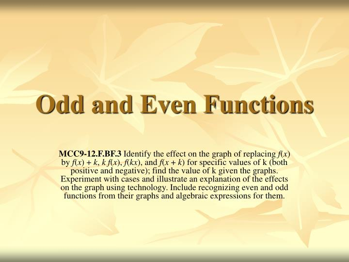 odd and even functions n.