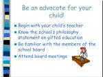 be an advocate for your child