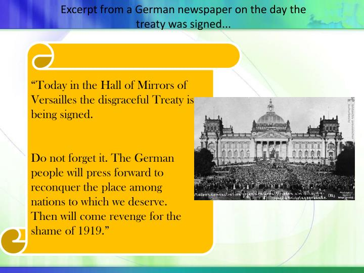 Excerpt from a German newspaper on the day the treaty was signed...