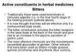 active constituents in herbal medicines bitters