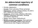 an abbreviated repertory of common conditions1