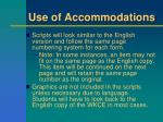 use of accommodations2