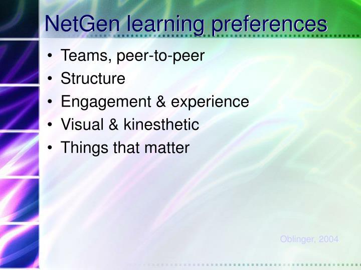 NetGen learning preferences