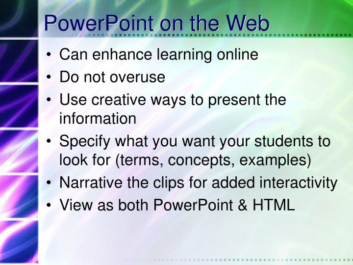 PowerPoint on the Web
