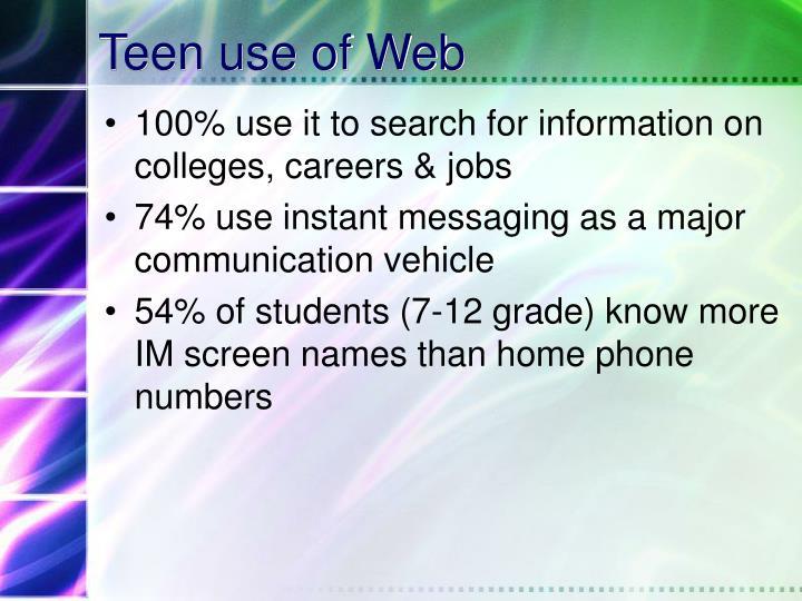 Teen use of Web