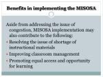 benefits in implementing the misosa