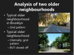 analysis of two older neighbourhoods