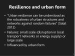 resilience and urban form