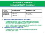 institutional allowance including health insurance