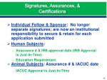 signatures assurances certifications