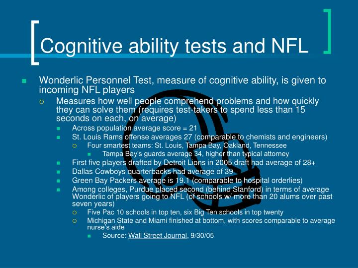 cognitive ability tests and nfl n.