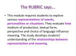 the rubric says