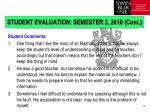 student evaluation semester 2 2010 cont