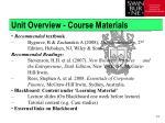unit overview course materials