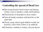 controlling the spread of head lice