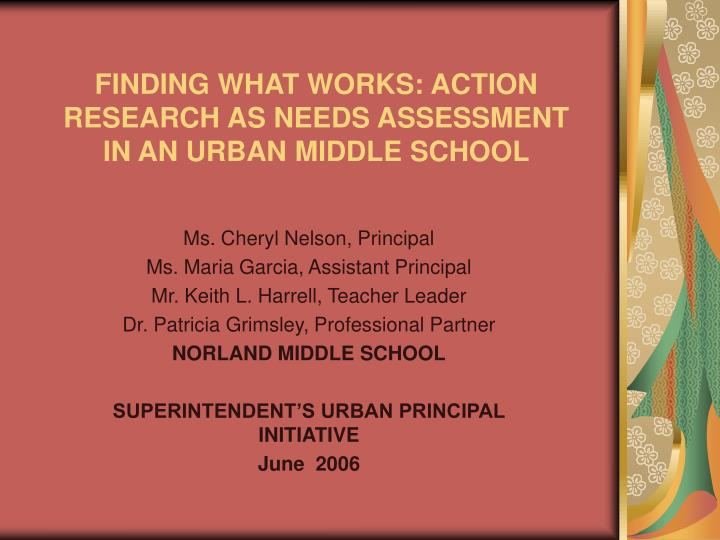 finding what works action research as needs assessment in an urban middle school n.