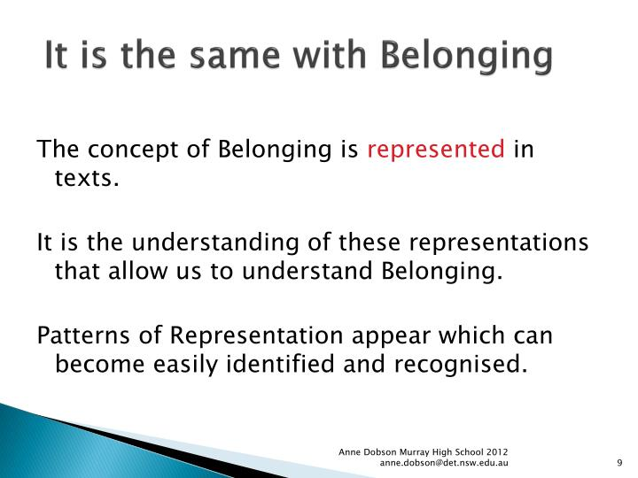 how is the concept of belonging represented in as you like it