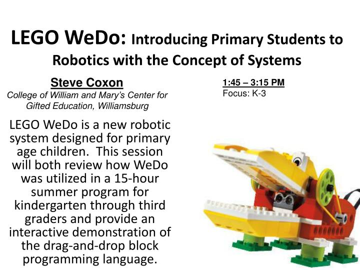 lego wedo introducing primary students to robotics with the concept of systems n.