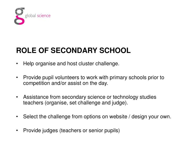 ROLE OF SECONDARY SCHOOL
