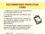 recommended inspection items