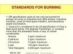 standards for burning