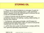 storing oil