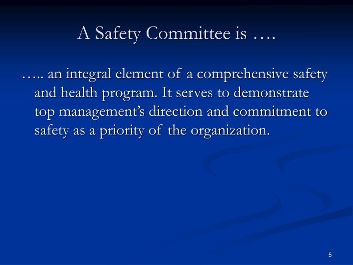 A Safety Committee is ….