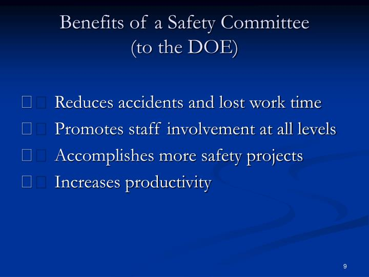 Benefits of a Safety Committee