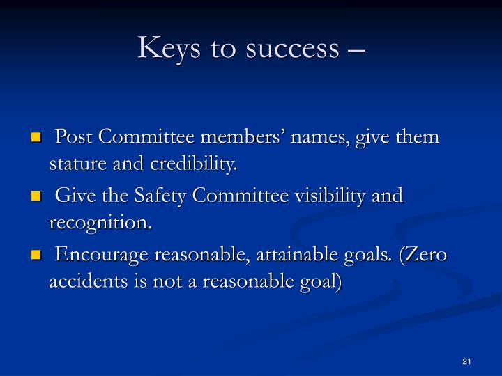 Keys to success –