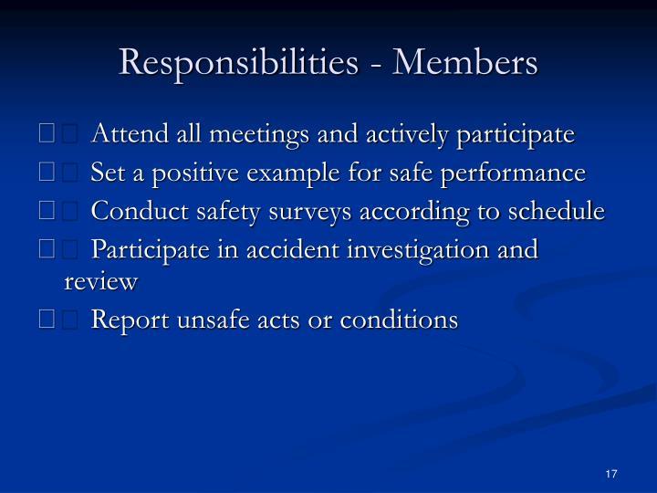 Responsibilities - Members