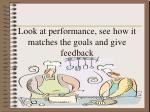 look at performance see how it matches the goals and give feedback