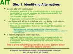 step 1 identifying alternatives