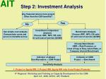 step 2 investment analysis
