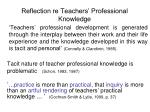 reflection re teachers professional knowledge