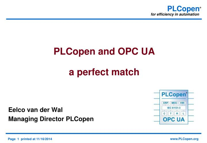 plcopen and opc ua a perfect match n.