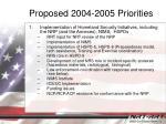 proposed 2004 2005 priorities