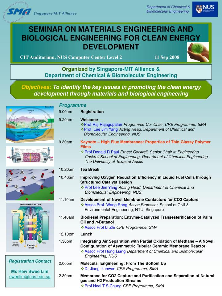 seminar on materials engineering and biological engineering for clean energy development n.
