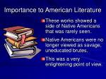 importance to american literature