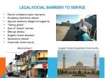 legal social barriers to service