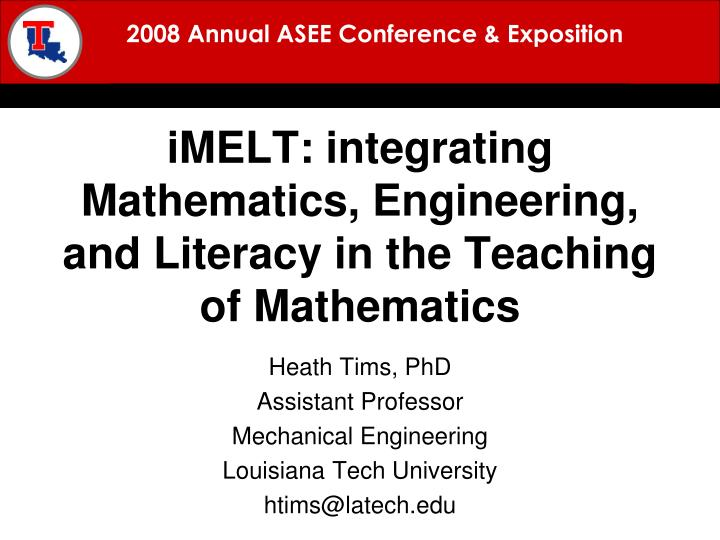 imelt integrating mathematics engineering and literacy in the teaching of mathematics n.
