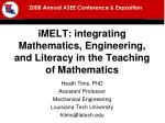 imelt integrating mathematics engineering and literacy in the teaching of mathematics