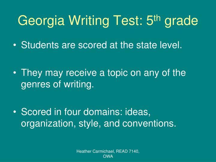 Georgia writing test 5 th grade
