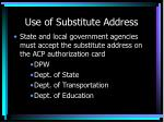 use of substitute address