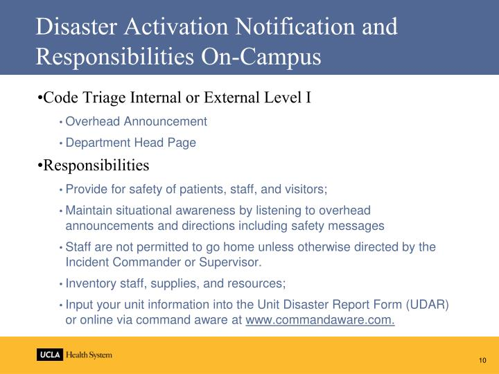 Disaster Activation Notification and Responsibilities On-Campus
