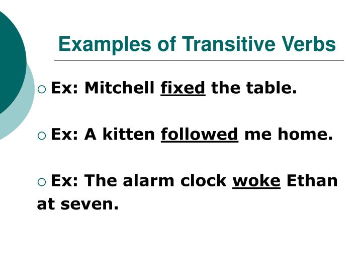 Ppt Transitive And Intransitive Verbs Powerpoint Presentation Id